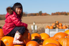 Girl Pumpkin Patch. Girl sitting on a pile of pumpkins at a pumkin farm royalty free stock photo