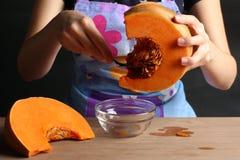 Girl with pumpkin Stock Photos