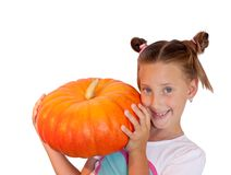 Girl with pumpkin on white background Royalty Free Stock Photos
