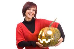 Girl and pumpkinhead Royalty Free Stock Photos