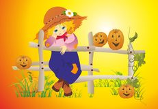 Girl with pumpkins Royalty Free Stock Images