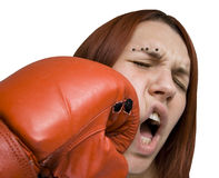 Girl punched in the face Stock Image