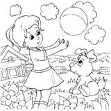 Girl and pup. Black-and-white illustration (coloring page): girl and pup playing with a ball Stock Photos