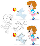 Girl and pup. Little girl playing a ball with her pup, three versions of the illustration Stock Photos