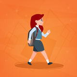 Girl Pupil Walking To School Schoolgirl Small Primary Student. Flat Vector Illustration Stock Photo
