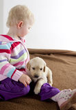 Girl with puppy. Little girl playing with puppy of golden retriever Royalty Free Stock Photo