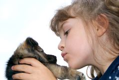 The girl with a puppy Royalty Free Stock Images