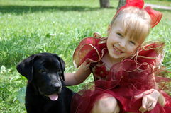 Girl and puppy Royalty Free Stock Photos