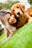 Girl with a puppy Royalty Free Stock Photos