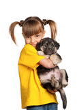 Girl with puppy. Portrait of little girl with cute puppy isolated on white background Royalty Free Stock Photos