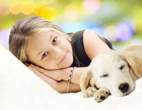 Girl and and Puppy Stock Photo