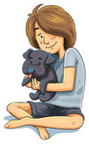 Girl with Puppy Stock Photo