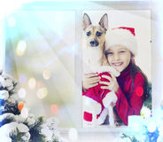 Girl and  puppy, Christmas Stock Photos