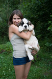 Girl with puppy Royalty Free Stock Photography