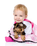 Girl and puppy. looking at camera. isolated on white background.  Royalty Free Stock Images