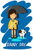 Girl and puppy in the rain Royalty Free Stock Images