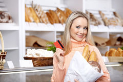 The girl with purchase Stock Photo