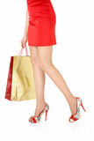 The girl with purchases Royalty Free Stock Photos