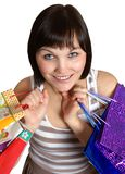The girl with purchases Stock Images