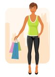 Girl with purchases goes around city Royalty Free Stock Photos