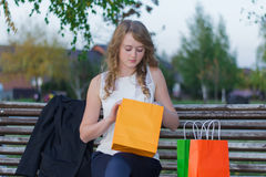 Girl with purchases Stock Image