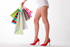 Girl with purchases. Stock Photography