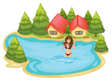 A girl with a purple bikini swimming at the beach with pine tree. Illustration of a girl with a purple bikini swimming at the beach with pine trees on a white Royalty Free Stock Images
