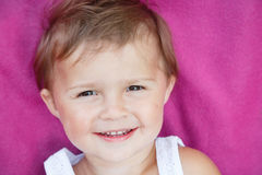Girl on purple carpet Stock Photo
