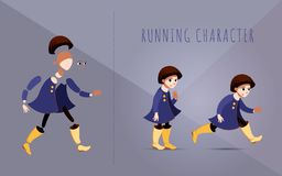 Girl in a purple coat and yellow boots standing. Female brunette straight hair character in purple coat. Character for running, vector illustration