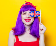 Girl with purple color hair and Great Britain flag Royalty Free Stock Photos