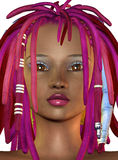 Girl with purple dreadlocks Stock Photo
