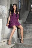Girl with purple dress 2 Royalty Free Stock Image