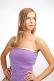 Girl in purple dress Stock Photos