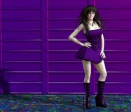 Girl in a purple dress. Very beautiful girl in a purple dress Stock Photography