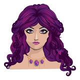 Girl with purple hair Royalty Free Stock Image