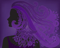 Girl with purple hair flower Stock Photography