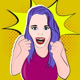 Girl with purple hair in stock illustration