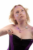 Girl purple powder make-up jewelry Royalty Free Stock Photo