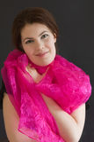 Girl with purple scarf Royalty Free Stock Images