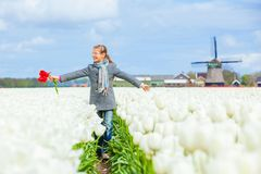 Girl in the purple tulips field Stock Photos