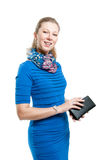 A girl with a purse Royalty Free Stock Photography