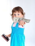 Girl with purse Royalty Free Stock Photo