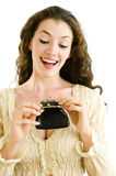 Girl with the purse. On white background royalty free stock photo