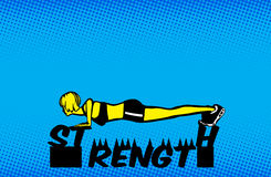 Girl Push Up Strength Training Illustration. Girl holding strength with push up to prevent spikes from poking her Royalty Free Stock Photos