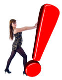 Girl, Pushing Red Exclamation Sign. royalty free stock photography