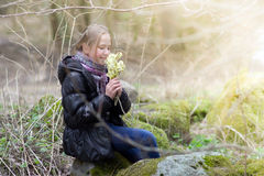 Girl with pussy-willow. The young girl with pussy-willow Stock Photos