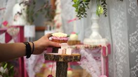 The girl puts the cupcake on the stand. Lovely decor. stock video