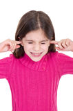 Girl putting finger on her ears Stock Photos