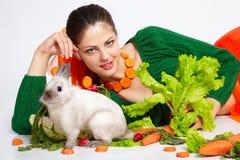 Girl and pygmy rabbit royalty free stock photos