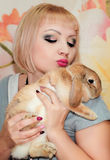 Girl and pygmy rabbit Royalty Free Stock Photography